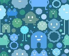 spoonflower fabric - Monsters on the Loose by Jessee Maloney