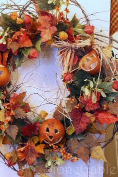 I would like this better without the jack-o-lantern so it would be appropriate for fall rather than Halloween. Halloween Porch, Holidays Halloween, Halloween Crafts, Halloween Decorations, Autumn Wreaths, Holiday Wreaths, Autumn Decorating, Fall Harvest, Autumn Inspiration