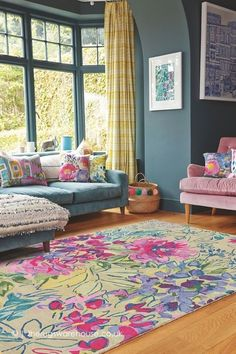 Order now the best rug design inspiration for your interior design project at es. - Order now the best rug design inspiration for your interior design project at es… – LIVING ROOM - Colourful Living Room, Rugs In Living Room, Living Room Designs, Quirky Living Room Ideas, Bright Living Room Decor, Colourful Lounge, Blue Yellow Living Room, Colour Schemes For Living Room, Colorful Rugs