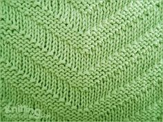 v-shape Knitted in a multiple of 30 sts and 5-row repeat Row 1: * Purl 4, knit 5, purl 5, knit 2, purl 5, knit 5, purl 4; repeat from * to end. Row 2: * Knit 3, purl 5, knit 5, purl 4, knit 5, purl 5, knit 3; repeat from * to end. Row 3: * Purl 2, knit 5, purl 5, knit 6, purl 5, knit 5, purl 2; repeat from * to end. Row 4: * Knit 1, purl 5, knit 5, purl 8, knit 5, purl 5, knit 1; repeat from * to end. Row 5: * Knit 5, purl 5, knit 10, purl 5, knit 5; repeat from * to end.