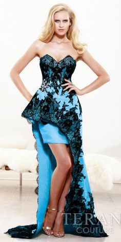 Strapless lace peplum gown with long skirt #edressme