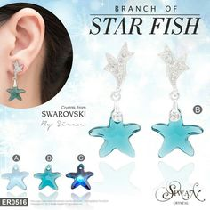 """Branch of Starfish""  Swarovski #crystal #elements  size 16 mm. #Starfish design  #titanium  A: Aquamarine ($44)  B: Indicolite ($44) C: Bermuda Blue ($49)"