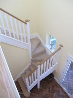 The first feature step has been manufactured from American oak to match the handrail & newel caps.
