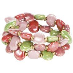 Kazuri Mini Shale Spring Wraparound Bracelet, Pink/Green (2.055 RUB) ❤ liked on Polyvore featuring jewelry, bracelets, accessories, pink, green, green jewelry, pink bangles, kazuri jewelry, pink jewelry and wrap jewelry