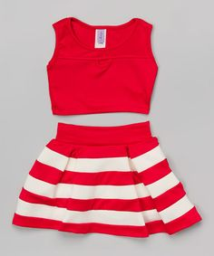 Loving this Red Crop Tank & Stripe Skirt - Girls on #zulily! #zulilyfinds