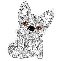 Mano dibujada bulldog cachorro zentangle estilo para colorear libro para adulto — Vector de stock
