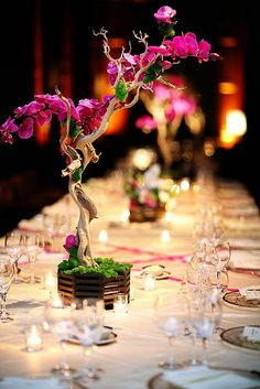 Simple and classy; glass and flowers. The miniature orchid-type tree as a center piece gives the table a grand look.