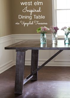 west-elm-inspired-dining-table-upcycledtreasures  http://upcycledtreasures.com/2014/05/west-elm-wooden-truss-dining-table-knockoff/