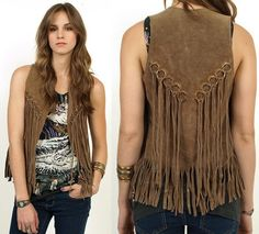 hippie style 339881103109666098 - Suede FRINGE Leather Hippie Vest… wish I still had mine from way back when. Fringe Fashion, 70s Fashion, Vintage Fashion, Fashion Outfits, Womens Fashion, Vintage 70s, Vintage Hippie, Fashion 2016, Ropa Shabby Chic