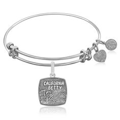 Expandable Bangle in White Tone Brass with California Betty Symbol