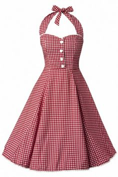 """#topvintage """"Collectif Clothing - 50s Gretel Gingham swing dress red white"""" so pretty!"""