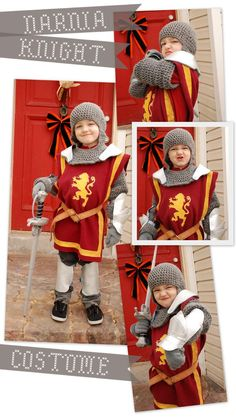 now that's a handmade costume! Lorajean's Magazine: knight costume--you sure that's Narnia? Dress Up Costumes, Boy Costumes, Cosplay Costumes, Medieval Party, Medieval Costume, Holidays Halloween, Halloween Fun, Halloween Costumes, Diy Knight Costume