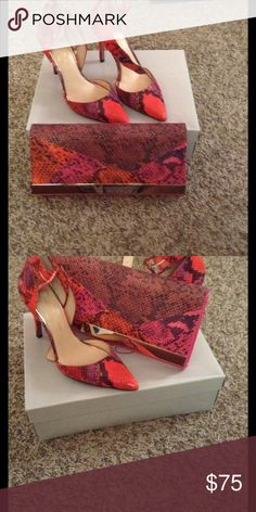 Heels and clutch(Aldo) Multi color heels with matching clutch (bundle deal) price is firm Jessica Simpson Shoes Heels