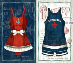Vintage Swimsuit Art in Nautical Colors of Blue White and Red! Featured on CC: http://www.completely-coastal.com/2015/04/nautical-home-accessories.html