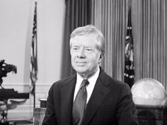 An Associated Press photographer captures Carter preparing for his farewell address to the nation in January 1981.