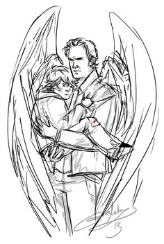 sabriel fanart < Things would be so different is Gabriel decided to save Sam as a child....