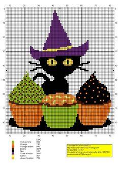 chat - cat - broderie - cross stitch - Cupcake chat - Point de croix - Blog : http://broderiemimie44.canalblog.com/