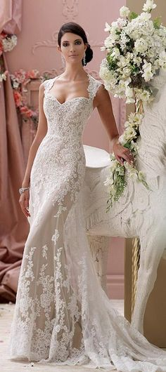 david tutera mon cheri spring 2015 style 115229 lourdes corded lace slim a line cap sleeve wedding dress ivory mocha #weddingdress #sheathweddingdress
