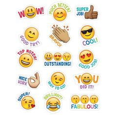 Students will love these Emoji stickers! Sweet and silly emoji faces along with their rewarding phrases will encourage children with social media and digital style. Approximately x 75 stickers per pack, bundle of 12 packs, 900 stickers total Reward Stickers, Teacher Stickers, Emoji Stickers, Planner Stickers, Classroom Rules, Classroom Displays, Classroom Themes, Colegio Ideas, Creative Teaching Press