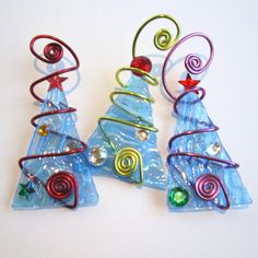 Ice Blue Tree Trio Glass Ornaments Wire by glassartelements - tons of these trees in the shop. LOVE them!