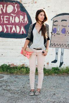 Shop this look on Kaleidoscope (blazer, top, jeans, flats, clutch, belt)  http://kalei.do/WB7f1xK7lMOEOkU8