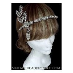 Great Gatsby Vintage 1920's Art Deco Flapper Headpiece - Wedding -... ($791) ❤ liked on Polyvore