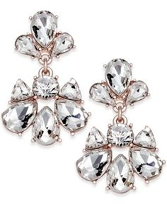 Charter Club Rose Gold-Tone Crystal Drop Earrings, Only at Macy's  - Gold