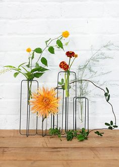Metal Skyline Plant Stand With Glass Tube Vases   11.5 Amazing Pictures