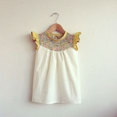 cotton dress with Liberty print detail by swallowsreturn on Etsy
