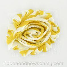 Ribbon And Bows Oh My! Mustard Shabby Chiffon Flower - so chic #mustard #chiffonflower #shabbychic
