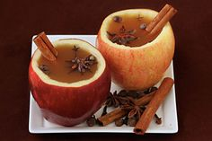Hollow out apples as cider cups