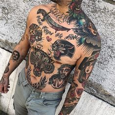 Tattoos are more common these days than they have ever been in the past. As we all know, tattoos are decorative markings in the skin, such as symbols, signs, and letters that are applied by puncturing the outer layer of the skin and Tattoos Torso, Stomach Tattoos, Body Art Tattoos, Sleeve Tattoos, Tatoos, Traditional Chest Tattoo, Traditional Tattoo Design, Traditional Tattoo Sleeves, Badass Tattoos