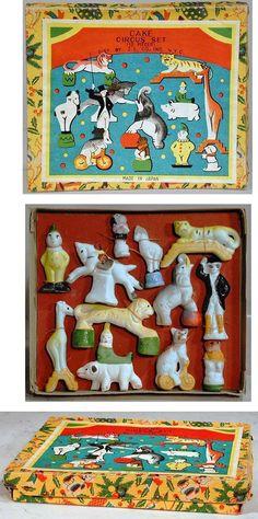 C. 1935 pre-war Japanese bisque 12 piece cake circus set in original box.