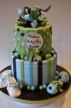 baby shower green and blue cake