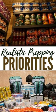 Realistic Prepping Priorities - To help battle the overwhelmed feeling of needing to get everything done all at once, it really helps to settle down and think more locally first. Emergency Preparedness Food, Emergency Food Storage, Emergency Preparation, Emergency Supplies, Survival Food, Outdoor Survival, Survival Prepping, Survival Skills, Emergency Kits