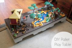 An awesome reader submitted this awesome DIY Pallet Play Table! Now I can't wait to make one for my little girl! It has rails for easy transfer and to store under the bed or closet space! Kids can move it around easily and play all over the house. It also a great idea for a Lego table, train set or…