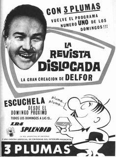 Publicidad del programa LA REVISTA DISLOCADA, Radio SPLENDID, Buenos Aires, década del 60.