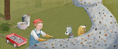 Spread from IN MARY'S GARDEN, picture book about the Milwaukee artist Mary Nohl. 2015, Houghton Mifflin.