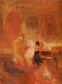 I love this work of art SO MUCH! Maybe I can get a print for my house? ~~Joseph Mallord William Turner - Music Party, East Cowes Castle, c Tate Gallery, London Joseph Mallord William Turner, Turner Painting, Painting & Drawing, Instalation Art, Tate Gallery, Watercolor Landscape Paintings, Oil Paintings, Western Art, Art Reproductions