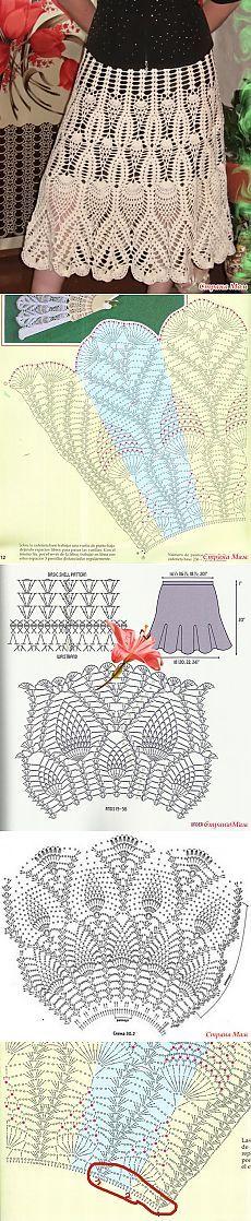 Бесподобно красивая юбка крючком по схеме веера