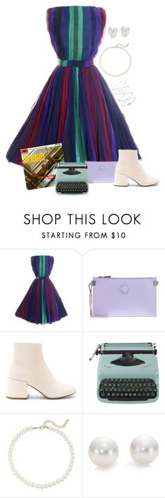 """""""The Fifth Beatle: Moxie"""" by pageinabook ❤ liked on Polyvore featuring Versace, MM6 Maison Margiela, Saks Fifth Avenue, Mikimoto and Accessorize"""