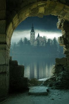 bluepueblo: Island Castle, Slovenia photo via richard