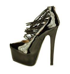 Pantofi Dama Reflection Black  -Pantofi dama lacuiti  -Detaliu varf ascutit  -Toc 16cm  -Platforma 5cm  -Se inchid cu fermoar la spate Peeps, Peep Toe, Shoes, Black, Fashion, Moda, Zapatos, Shoes Outlet, Black People