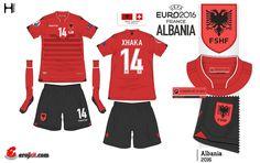 Albainia home kit for Euro 2016.