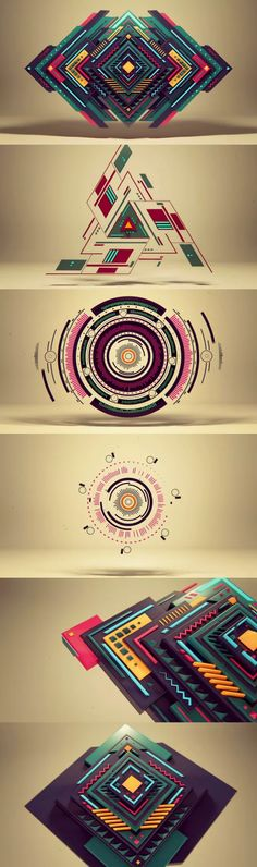 Geometry Pure Geometry by Alexey Romanowsky - animation, really, but they look so REAL!:Pure Geometry by Alexey Romanowsky - animation, really, but they look so REAL! Graphisches Design, Logo Design, Pixel Design, Shape Design, Typography Design, Geometric Designs, Geometric Shapes, Geometric Circle, Vitrine Design