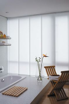 Sydney Panel Blinds by Davonne Curtains With Blinds, Blinds For Windows, Panel Curtains, Window Blinds, Window Panels, Fabric Panels, Sliding Panel Blinds, House Blinds, Shades Blinds