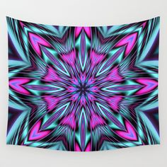 Flower kaleidoscope with Heart shapes Wall Tapestry