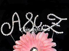 Cristal de diamant strass initiale gâteau d anniversaire Topper mariage Lettre