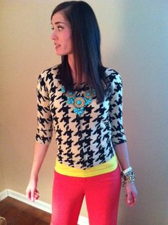 houndstooth and color blocking