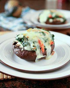 Spinach And Ricotta Stuffed Portobello Mushrooms-use low fat version of cheeses.  Add artichokes.